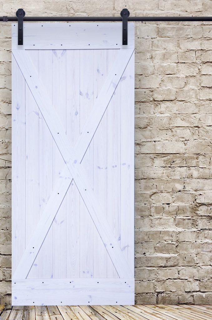 """drzwi przesuwne drewniane typu """"barn doors"""" kolor biel rustykalna model X"""
