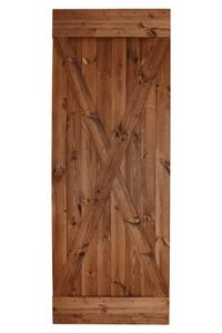 drzwi przesuwne drewniane iks, styl rustykalny, kolor orzechowy
