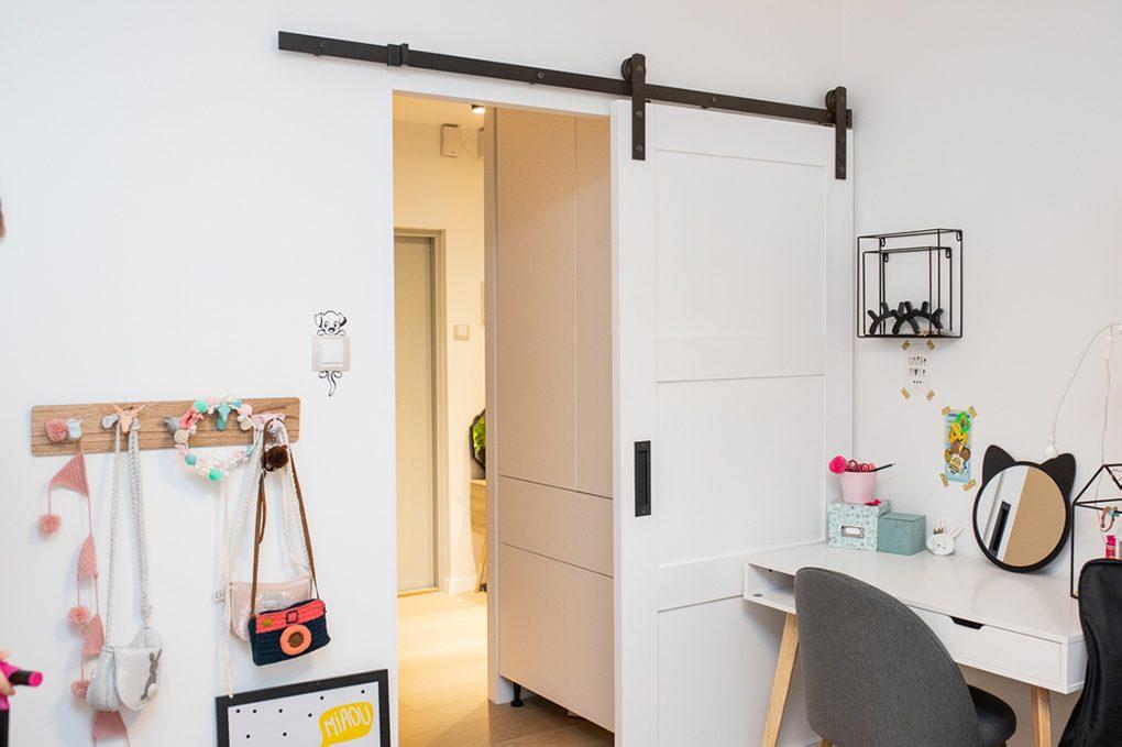 drzwi przesuwne w bloku, drzwi przesuwne drewniane, drzwi przesuwne białe, eleganckie drzwi przesuwne, drzwi przesuwne w pokoju dla dzieci, drzwi przesuwne oszczędzają miejsce, oszczędność miejsca drzwi przesuwne, drzwi przesuwne chowane, dekoracje do pokoju dziewczynek, biurko białe dla dziewczynki