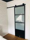 stalowe drzwi przesuwne, drzwi industrialne, metalowe drzwi ze szkłem