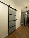 industrialne drzwi ze szkłem, przesuwne drzwi do łazienki