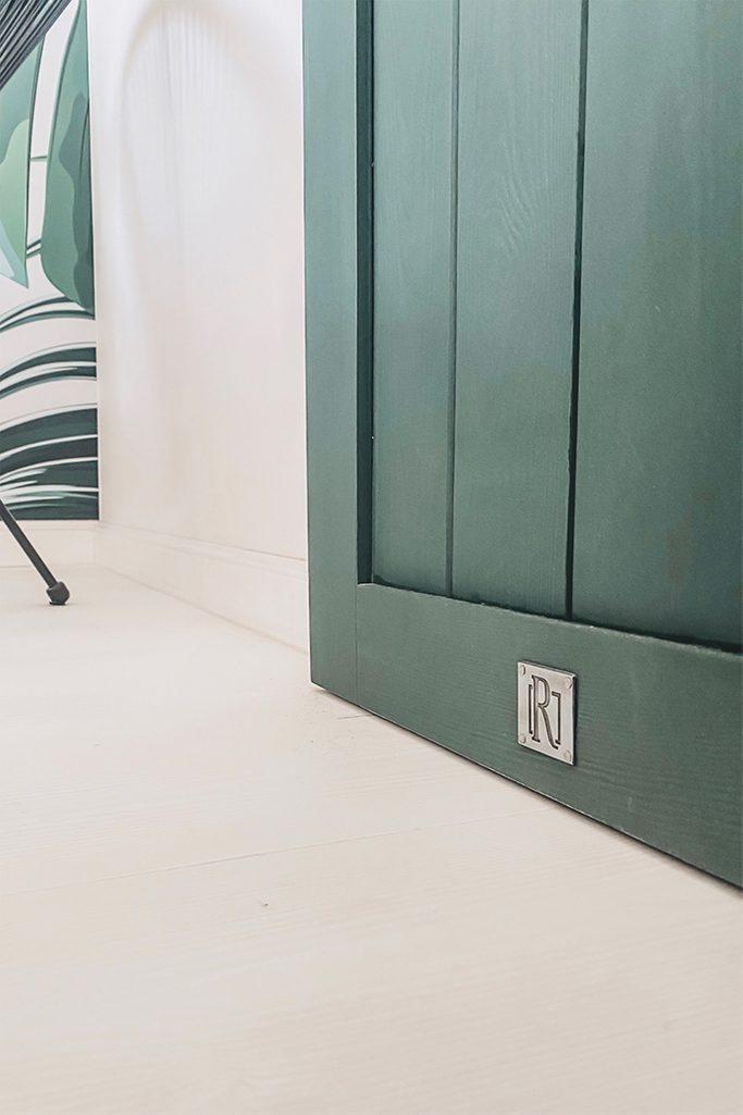 zielone drzwi drewniane wewnętrzne