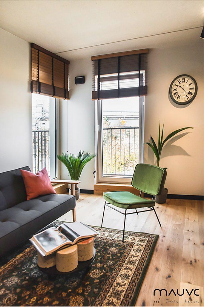 Szara retro sofa i zielony vintage fotel w małym salonie