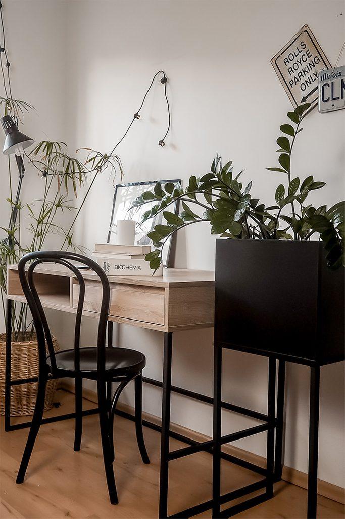 aranżacja pokoju studenta w stylu loft z dużym biurkiem oraz dużym stojakiem na kwiaty