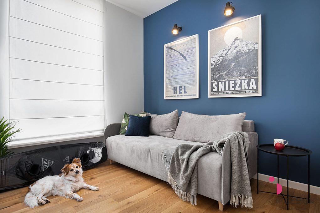 Jasna szara sofa w salonie z niebieską ścianą ozdobioną dużymi plakatami