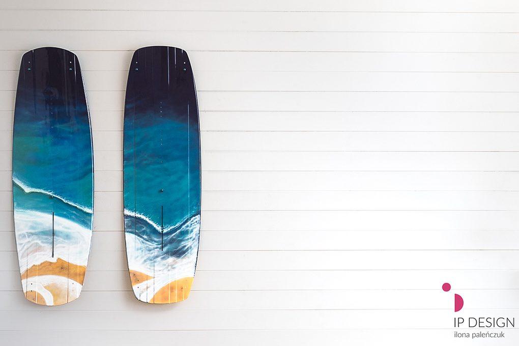 Deski surfingowe dekoracyjne z motywem fal morskich