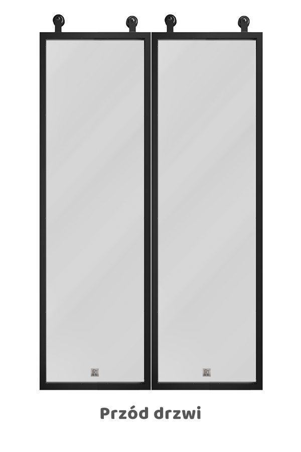 Drzwi dwuskrzydłowe szklane, w metalowej ramie, model GLASSO
