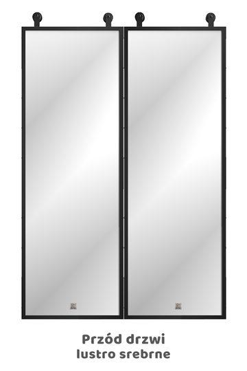 Drzwi przesuwne dwuskrzydłowe z lustrem, model LARA